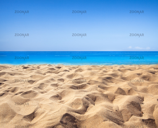 Background of tropical beach and blue sea and sky with white cloud