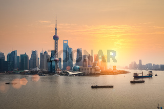 beautiful dusk with shanghai skyline