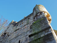 a close up of a corner turret on bootham Bar the 11 century gatehouse and north western entrance to the city of york