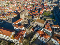 Aerial view of Se Cathedral in Porto
