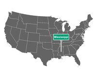 Mississippi Ortsschild und Karte der USA - Mississippi state limit sign and map of USA