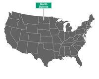 North Dakota Ortsschild und Karte der USA - North Dakota state limit sign and map of USA