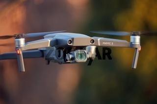 Drony flying close up, camera gimbal