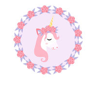 Cute little unicorn, modern cartoon style. Fairy pony with flowers. Vector illustration