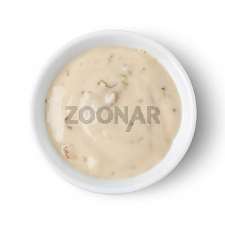 Bowl with mushrooms sauce