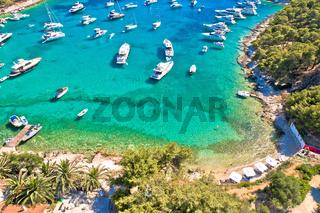 Aerial view of Palmizana, sailing cove and turquoise beach on Pakleni Otoci islands