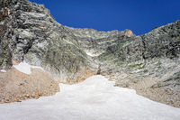 Alpine glaciers and neves snow landscape in French alps.