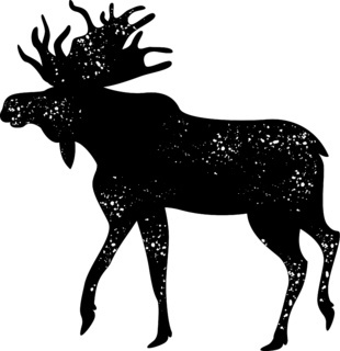 Bull moose. Flat vector illustration. Simple silhouettes, dots texture. Isolated on white.