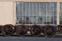 Iron wheels of a steam locomotive