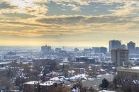 Sunset view of Salt Lake City, Utah in winter