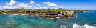Aerial drone shot of Lawai Beach on the south shore of Kauai in Hawaii