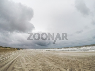 driving 4x4 on fort fisher park beach in north carolina