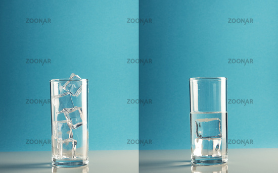 Concept image of melting ice in glass, symbolic of climate change