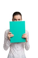 Business woman with green paper pack view