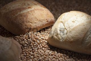 three bread rolls in the spot light