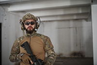 modern warfare soldier portrait in urban environment