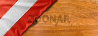 National flag of Austria on a wooden background with copy space