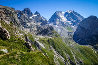 Grande Casse Alpine glacier landscape in French alps.