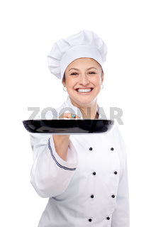 chef holding pan