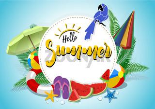 Hallo Sommer Vektor Banner Design mit bunten Elementen