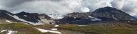 Panoramic volcanic landscape: active volcano eruption crater. Autumn travel destinations background