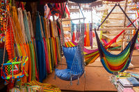 Close-up of multi-colored hammocks