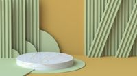 Green and brown abstract background with stripe pattern and circles wall 3D