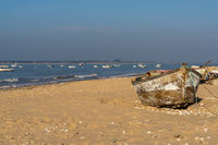 Many old wooden fishing boats on the beach at Sanlucar de Barrameda