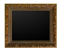 gold vintage picture frame isolated white background