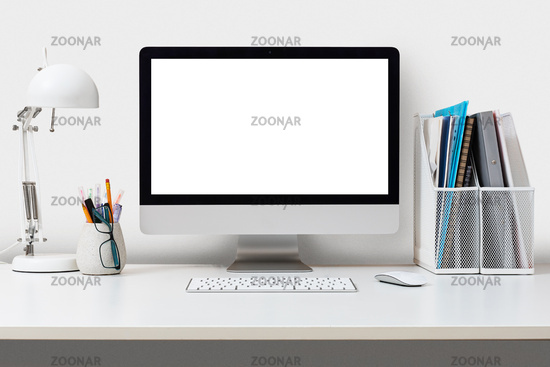 Desktop computer on a white