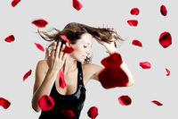 Rose petals woman