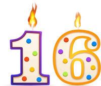 Sixteen years anniversary, 16 number shaped birthday candle with fire on white