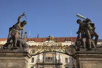 Figures at the entry portal of Prague castle, Prague, Bohemia, Czech Republic, Europe