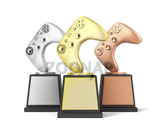 Gamer trophies on white background
