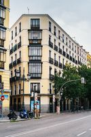 Old residential buildings in Bailean street, Madrid