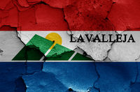 flag of Lavalleja Department painted on cracked wall