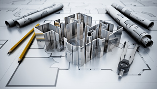 Architectural plans, house model, pencil and compasses. 3D illustration