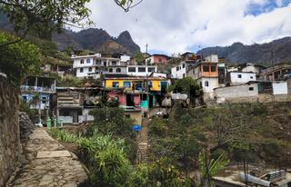 Colorful town houses in the indigenous mountain village along lake Atitlan, Santa Cruz La Laguna, Guatemala
