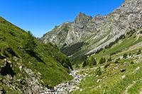 Valley with mountain stream in a pre-alpine landscape, Bex, Vaud, Switzerland