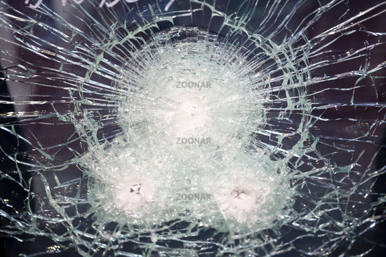 Cracked bulletproof glass