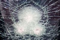 Cracked bulletproof glass
