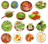 set of various vegetable salads isolated