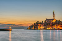 View of the beautiful old town of Rovinj in Croatia after sunset