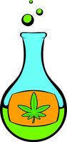 Chemical test tube with marijuana leaf icon