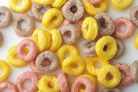 Background of colorful cereal rings