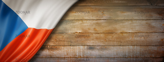 Czech flag on vintage wood wall banner