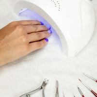 Beautiful nails below UV lamp
