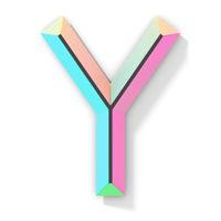 Neon color bright font Letter Y 3D