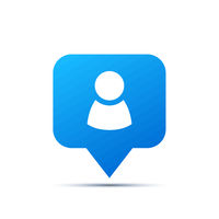 Bright blue trendy icon for social network. Person piktogram on white