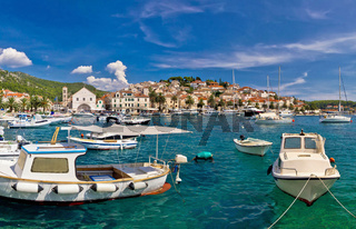 Idyllic Hvar harbor waterfrontview